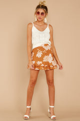 4 On The Sunset Mustard Floral Print Mini Skirt at reddressboutique.com
