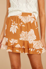 1 On The Sunset Mustard Floral Print Mini Skirt at reddressboutique.com