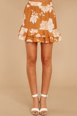 2 On The Sunset Mustard Floral Print Mini Skirt at reddressboutique.com