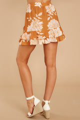 3 On The Sunset Mustard Floral Print Mini Skirt at reddressboutique.com