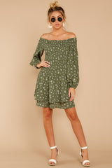 2 For The Twirl Of It Olive Green Print Dress at reddressboutique.com
