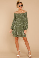 3 For The Twirl Of It Olive Green Print Dress at reddressboutique.com