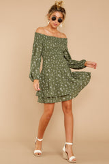 For The Twirl Of It Olive Green Print Dress