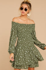 5 For The Twirl Of It Olive Green Print Dress at reddressboutique.com