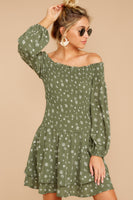 Shirred Tiered Polyester Long Sleeves Off the Shoulder General Print Dress