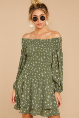 6 For The Twirl Of It Olive Green Print Dress at reddressboutique.com
