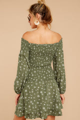 7 For The Twirl Of It Olive Green Print Dress at reddressboutique.com