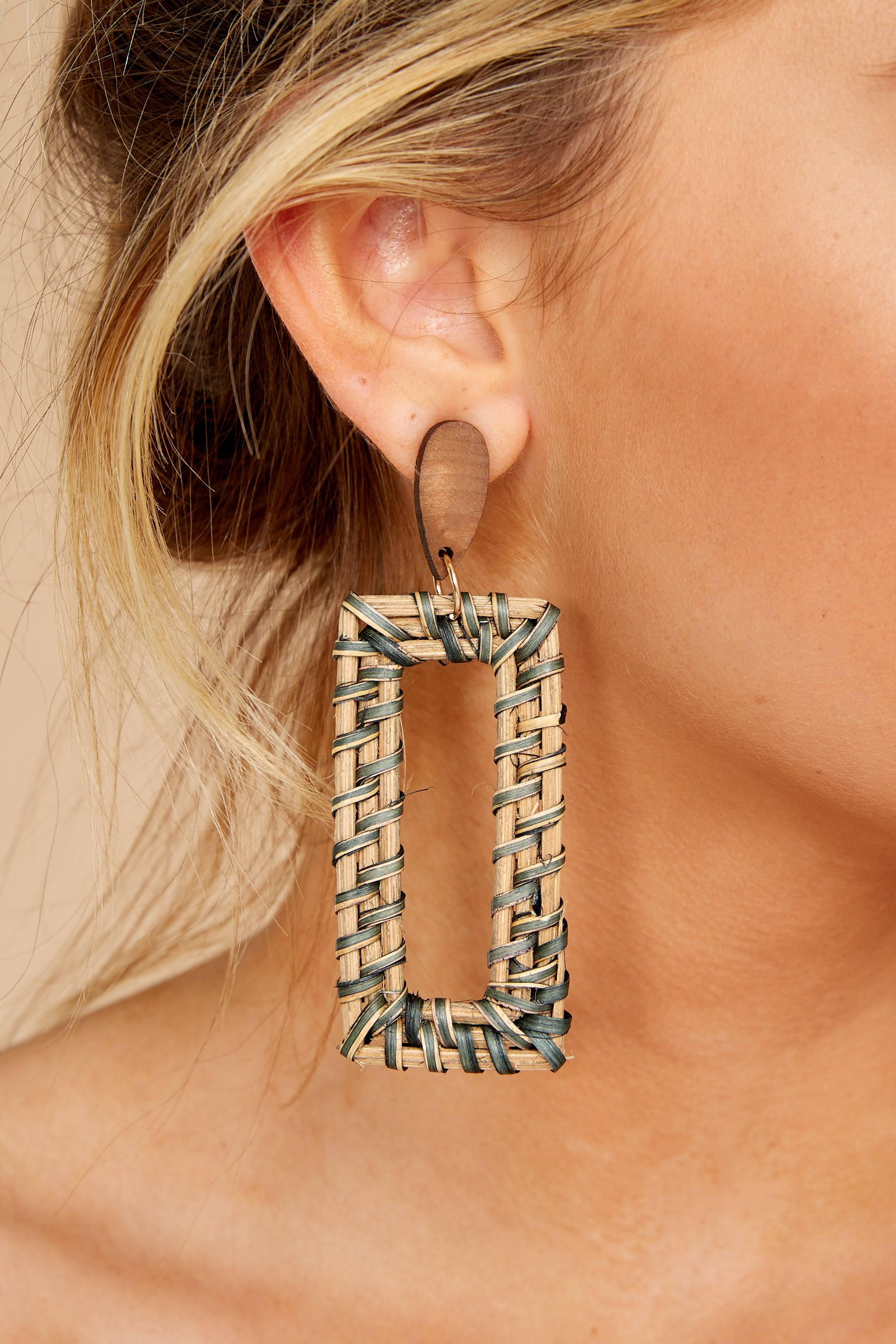 1 She's A Natural Tan Woven Earrings at reddressboutique.com