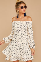 General Print Long Sleeves Off the Shoulder Shirred Tiered Polyester Dress