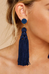 2 Worth The Tassel Navy Earrings at reddressboutique.com