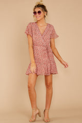 2 Garden Varieties Mauve Pink Floral Print Dress at reddressboutique.com