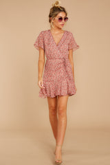 3 Garden Varieties Mauve Pink Floral Print Dress at reddressboutique.com