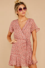 4 Garden Varieties Mauve Pink Floral Print Dress at reddressboutique.com