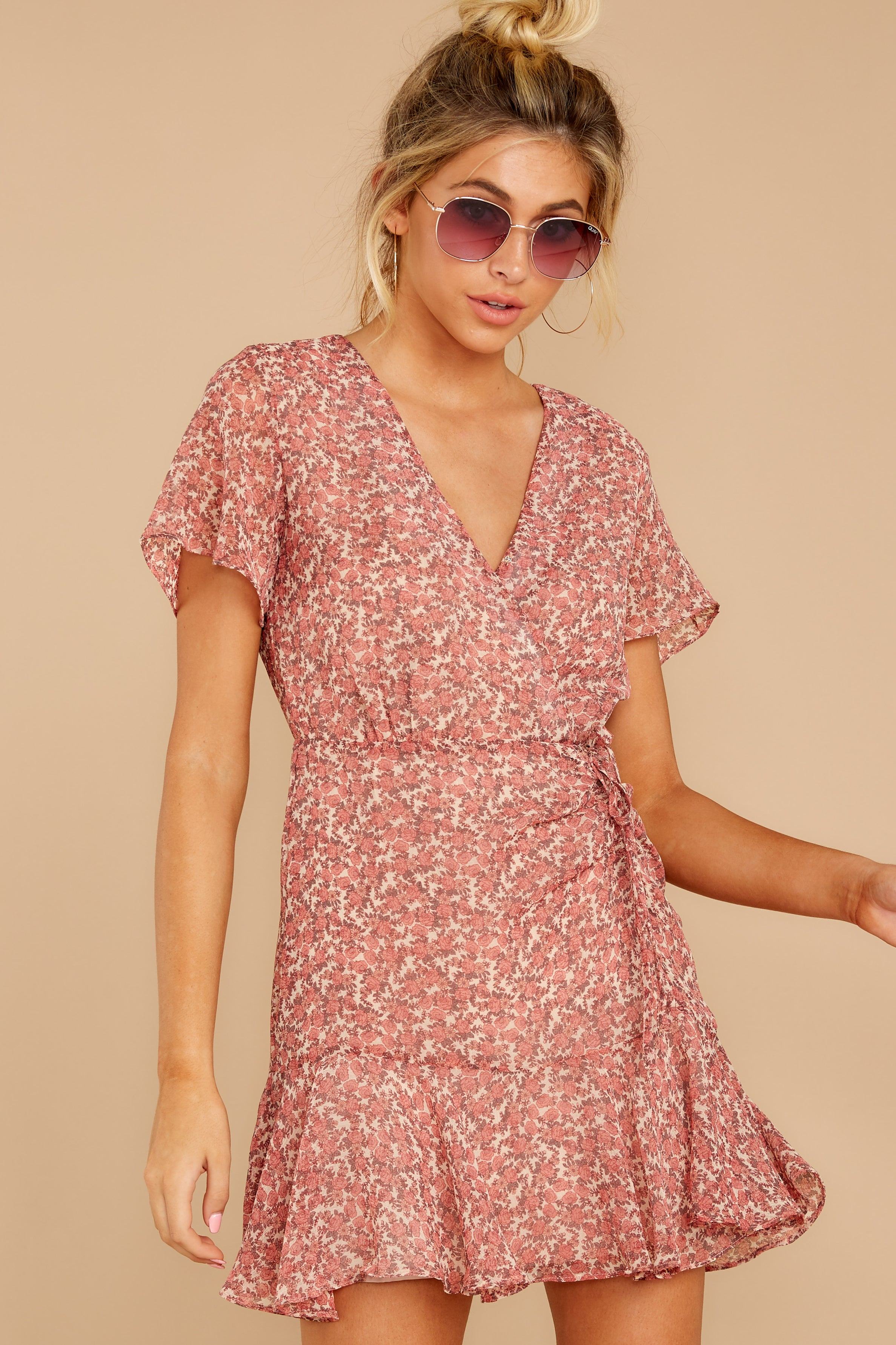 5 Garden Varieties Mauve Pink Floral Print Dress at reddressboutique.com