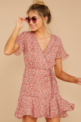 6 Garden Varieties Mauve Pink Floral Print Dress at reddressboutique.com