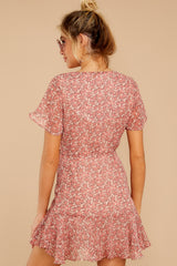 7 Garden Varieties Mauve Pink Floral Print Dress at reddressboutique.com