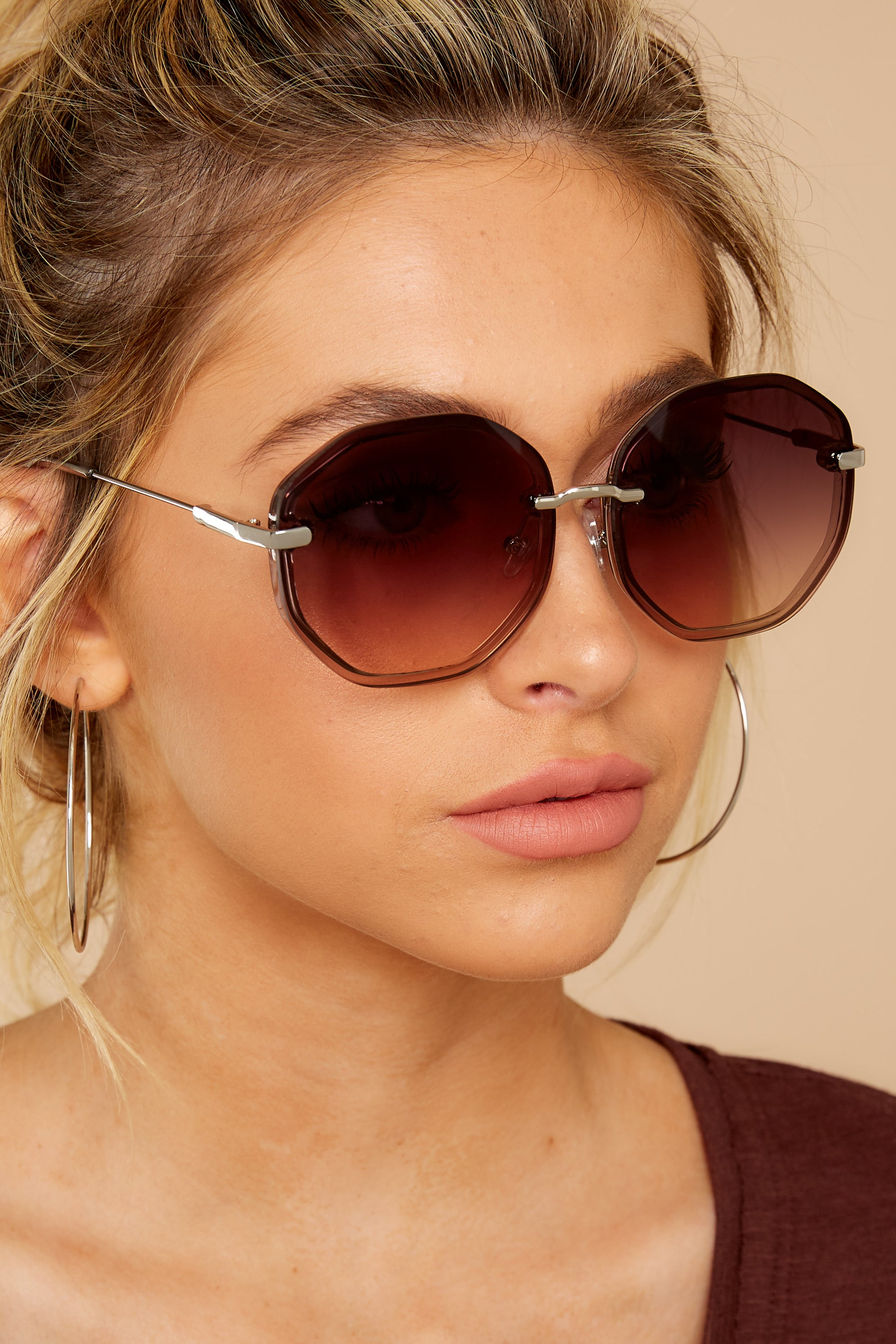 Obvious Glamour Brown Fade Silver Sunglasses
