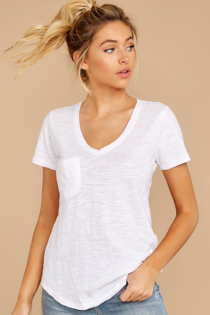 6 Living For It White Tee at reddressboutique.com