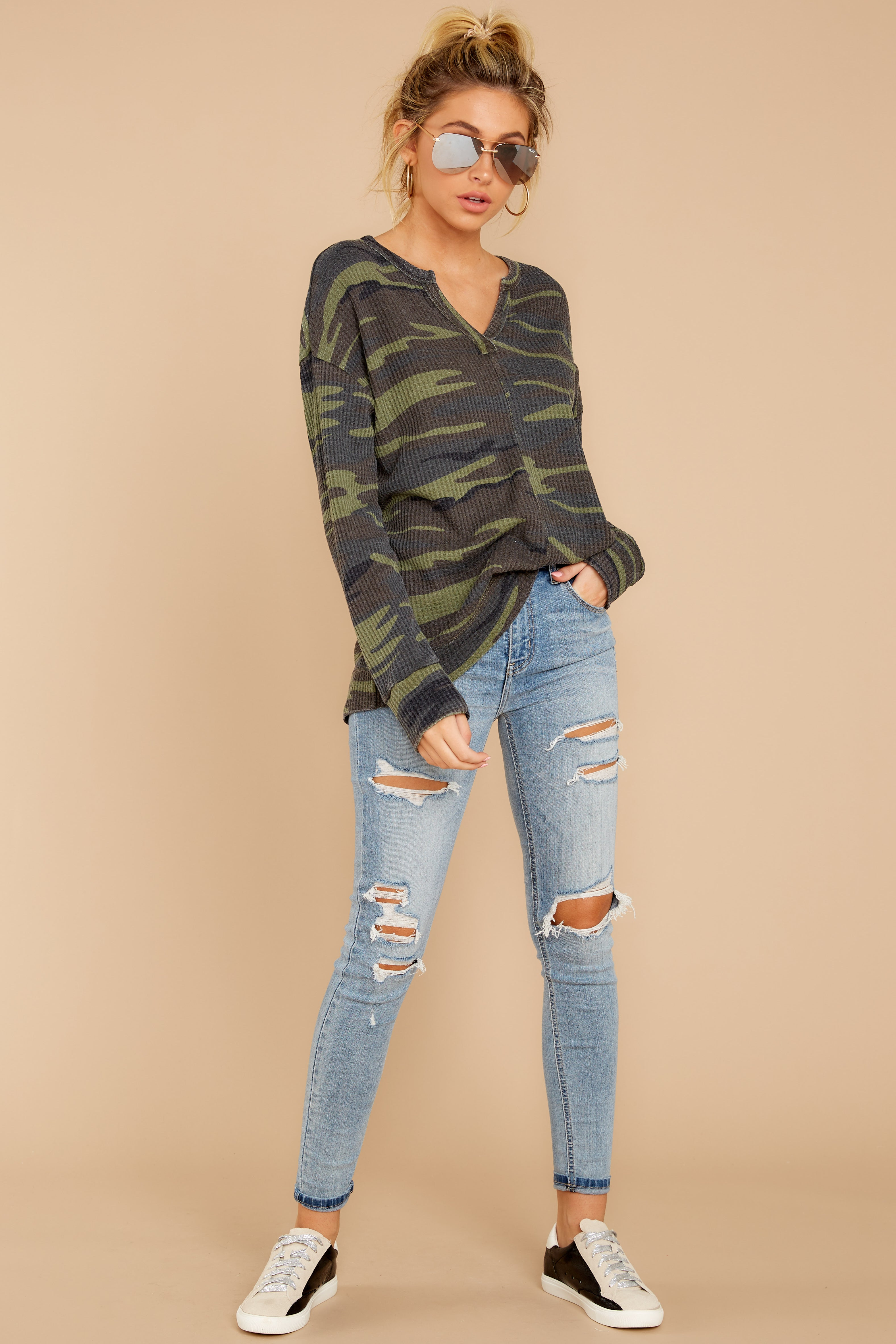 1 The Camo Green Waffle Split Neck Thermal at reddressboutique.com
