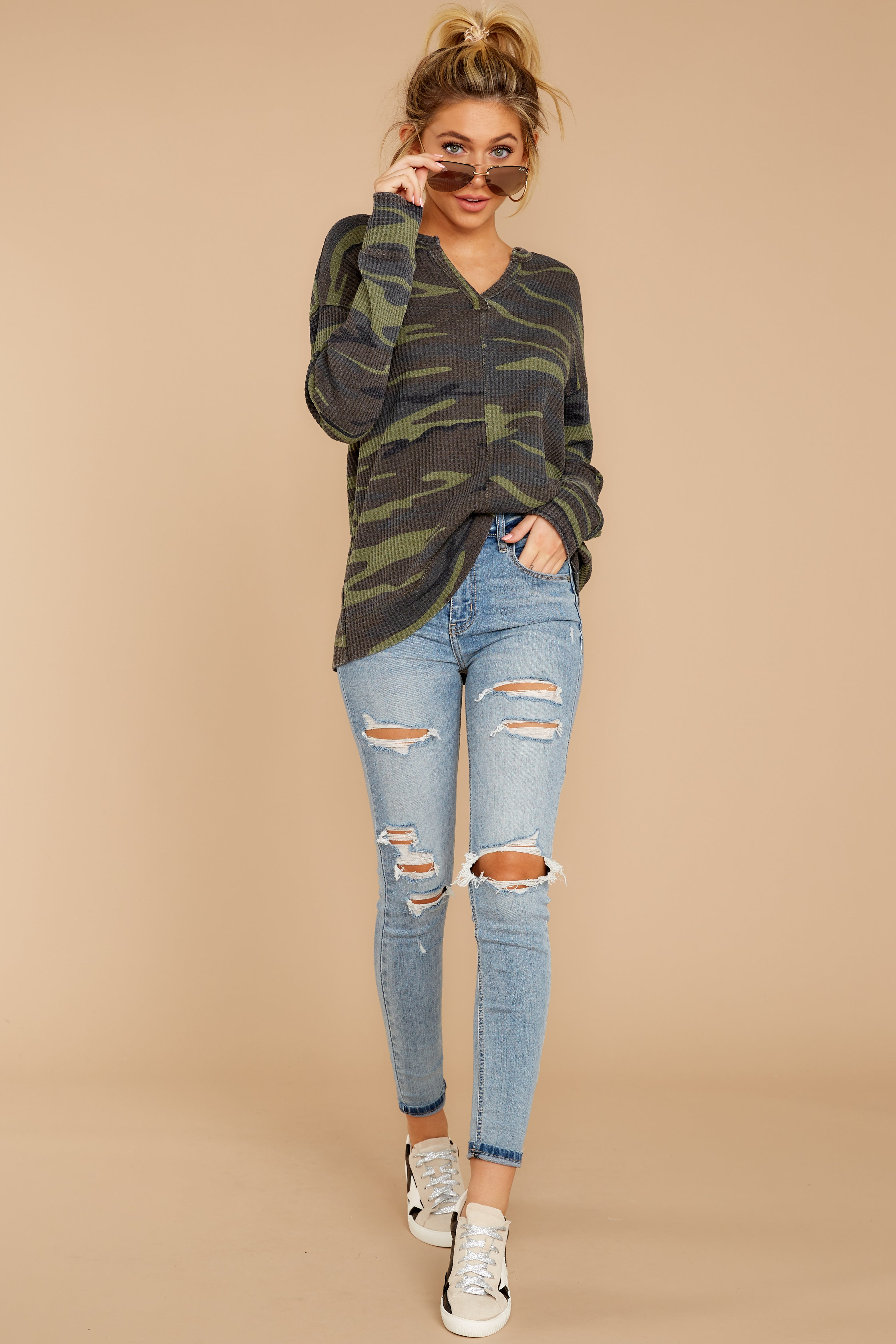 2 The Camo Green Waffle Split Neck Thermal at reddressboutique.com