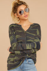 4 The Camo Green Waffle Split Neck Thermal at reddressboutique.com