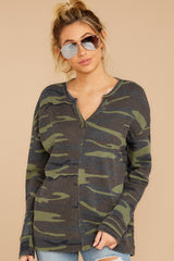5 The Camo Green Waffle Split Neck Thermal at reddressboutique.com