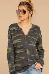 6 The Camo Green Waffle Split Neck Thermal at reddressboutique.com