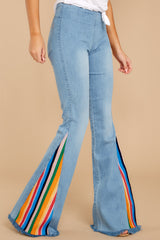 1 Retro Rainbows Light Wash Embroidered Flare Jeans at reddress.com