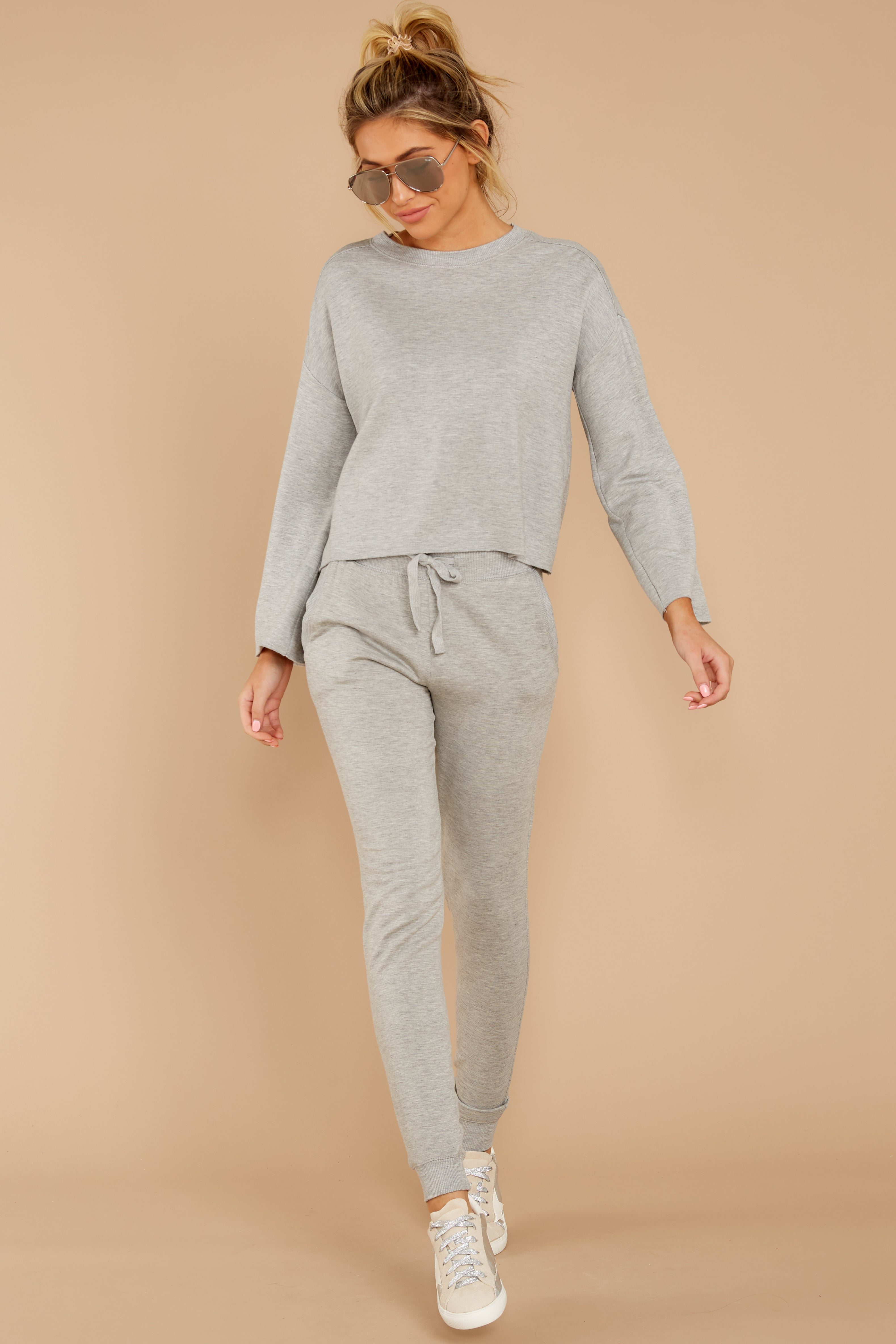 4 The Heather Grey Premium Fleece Jogger at reddressboutique.com