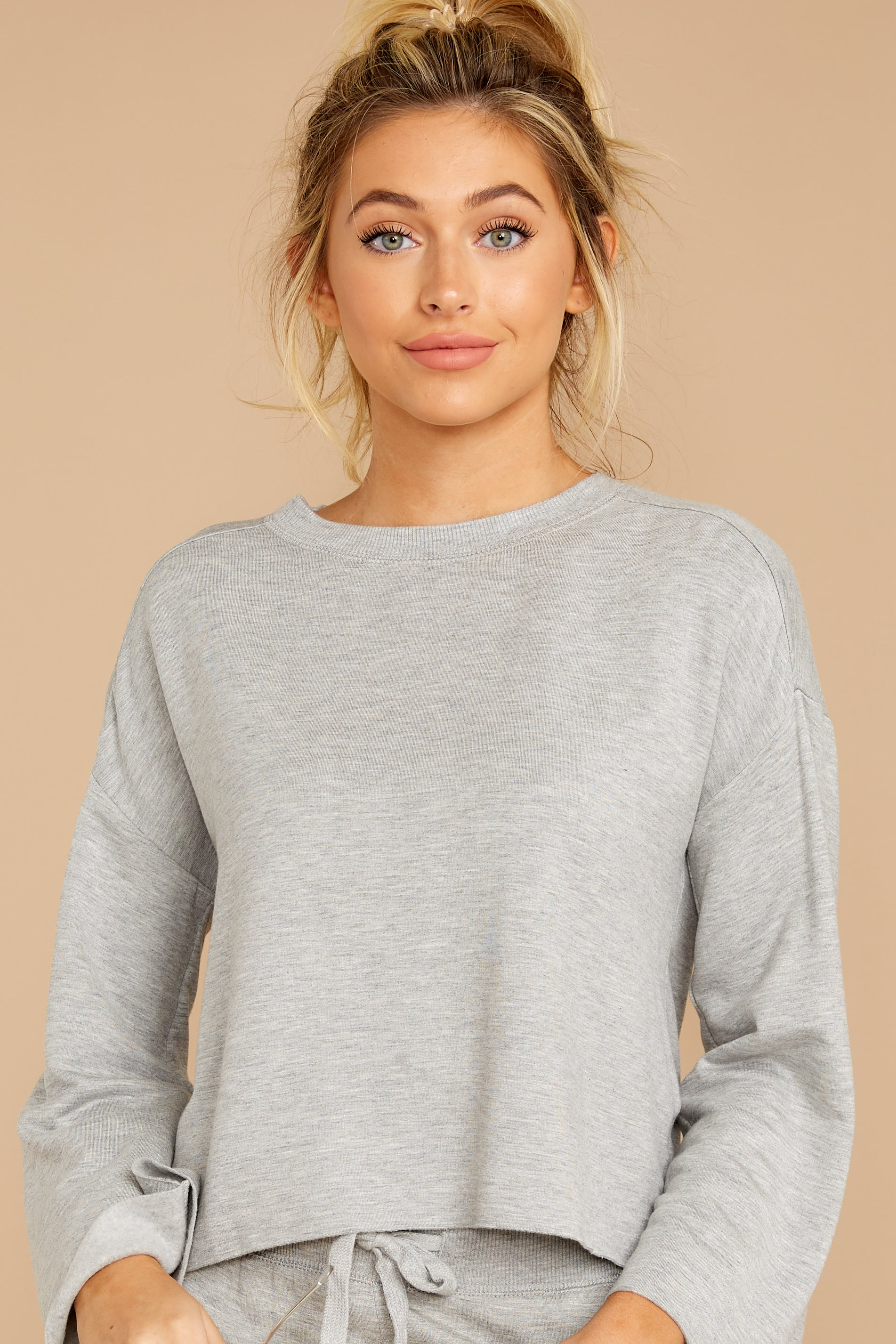 5 The Heather Grey Premium Fleece Flare Sleeve Pullover at reddressboutique.com