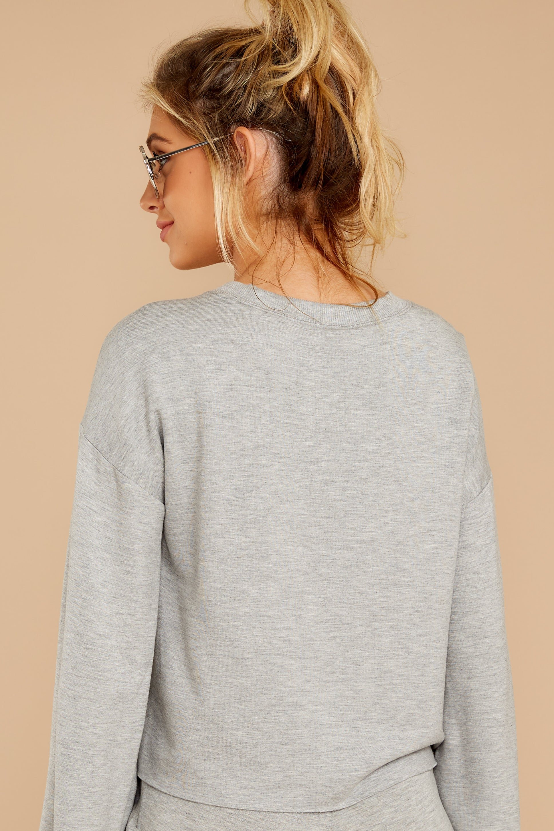 7 The Heather Grey Premium Fleece Flare Sleeve Pullover at reddressboutique.com