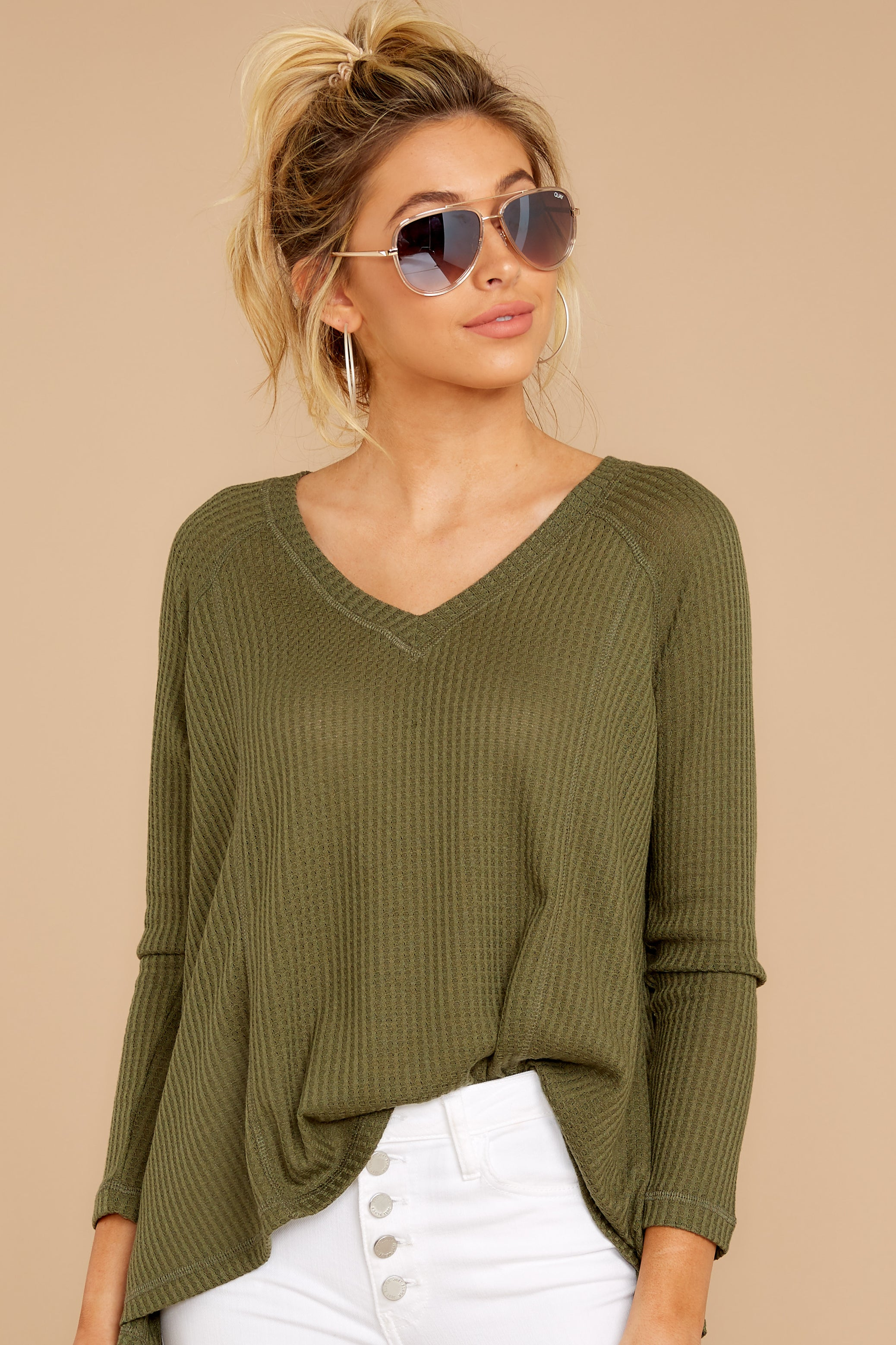 4 Chill By Choice Olive Green Waffle Knit Top at reddressboutique.com