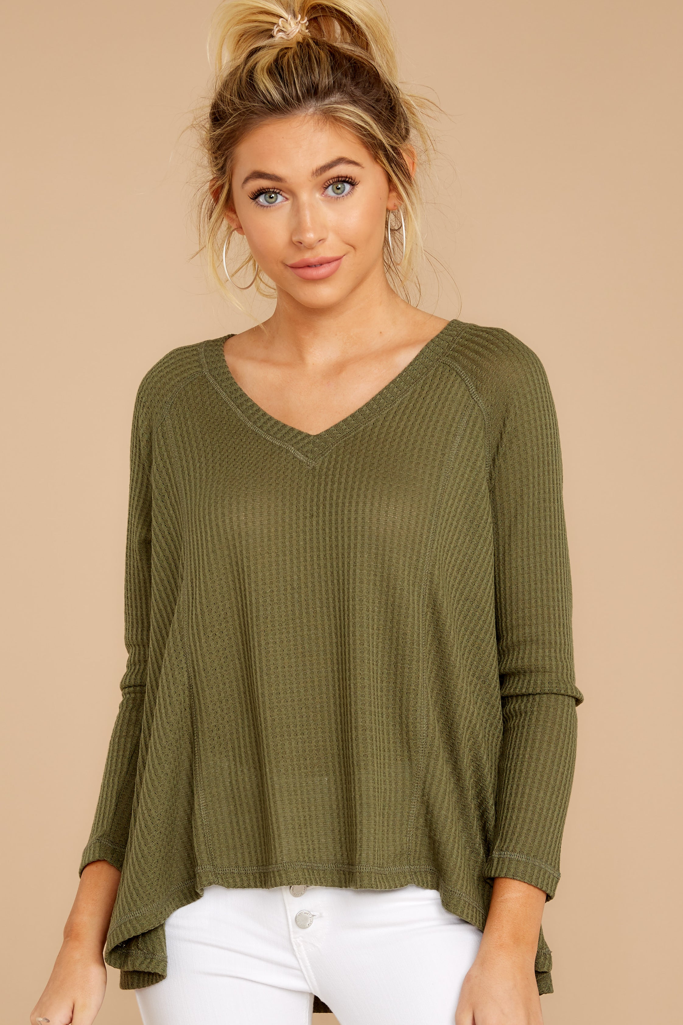 5 Chill By Choice Olive Green Waffle Knit Top at reddressboutique.com