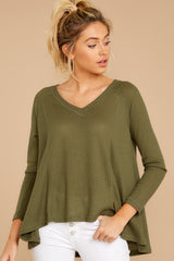 6 Chill By Choice Olive Green Waffle Knit Top at reddressboutique.com