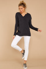 1 The Black Waffle Split Neck Thermal at reddressboutique.com