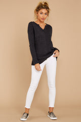 2 The Black Waffle Split Neck Thermal at reddressboutique.com