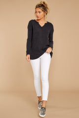 3 The Black Waffle Split Neck Thermal at reddressboutique.com