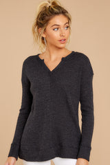 4 The Black Waffle Split Neck Thermal at reddressboutique.com