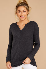 6 The Black Waffle Split Neck Thermal at reddressboutique.com