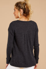 7 The Black Waffle Split Neck Thermal at reddressboutique.com
