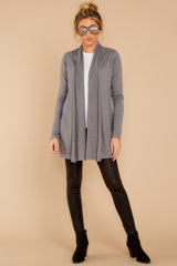 2 Get Closer Charcoal Grey Cardigan at reddressboutique.com