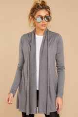 4 Get Closer Charcoal Grey Cardigan at reddressboutique.com