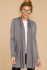 5 Get Closer Charcoal Grey Cardigan at reddressboutique.com