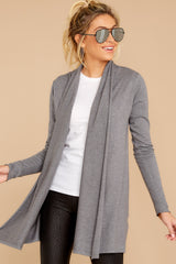 6 Get Closer Charcoal Grey Cardigan at reddressboutique.com