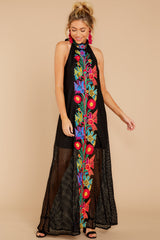 3 Flock To It Black Embroidered Maxi Dress at reddressboutique.com