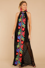 2 Flock To It Black Embroidered Maxi Dress at reddressboutique.com