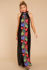 4 Flock To It Black Embroidered Maxi Dress at reddressboutique.com