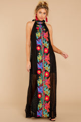 5 Flock To It Black Embroidered Maxi Dress at reddressboutique.com