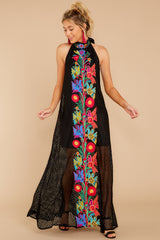 1 Flock To It Black Embroidered Maxi Dress at reddressboutique.com