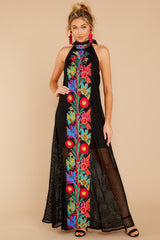 6 Flock To It Black Embroidered Maxi Dress at reddressboutique.com